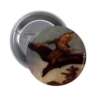 Wizard on a Bird Fantasy Art 6 Cm Round Badge