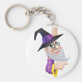 Wizard peeping round sign keychains