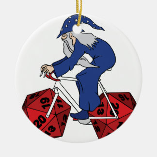 Wizard Riding Bike With 20 Sided Dice Wheels Round Ceramic Decoration