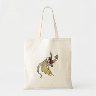 Wizard Riding White Dragon Canvas Bag