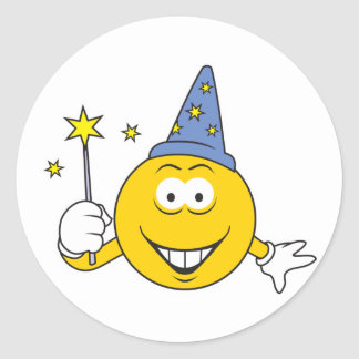 Wizard  Smiley Face Round Sticker