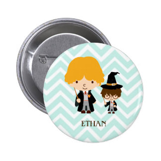Wizards Magician Brothers on Chevron Background 6 Cm Round Badge