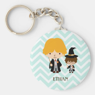 Wizards Magician Brothers on Chevron Background Key Chains