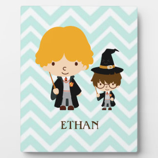 Wizards Magician Brothers on Chevron Background Plaques