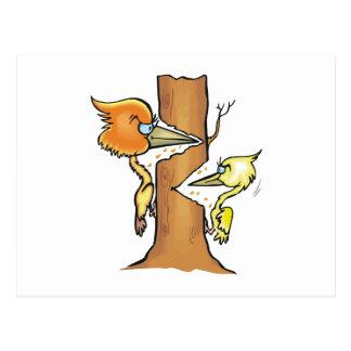Wizzie & Wazzie Woodpecker Postcard