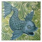 Wm De Morgan Blue Dolphin Tile (facing right)