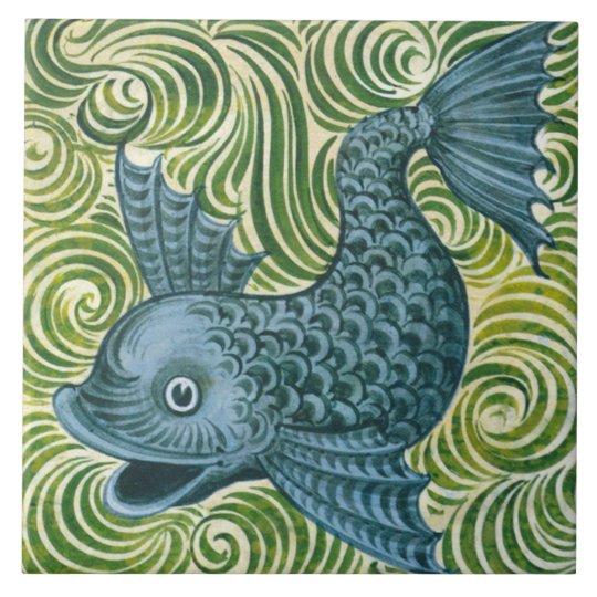Wm De Morgan Left Facing Blue Dolphin Tile