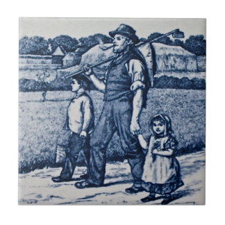 Wm Wise Country Village Life Family Antique Repro Tile