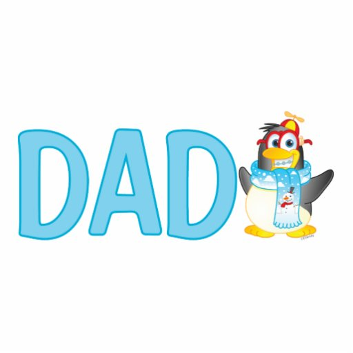 Wobble Penguin Cartoon Character for Dad - Cut Out