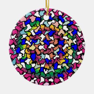 Wobbly Vibrant Tiles Ceramic Ornament