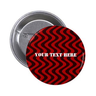 Wobbly Waves (Black/Red) 6 Cm Round Badge