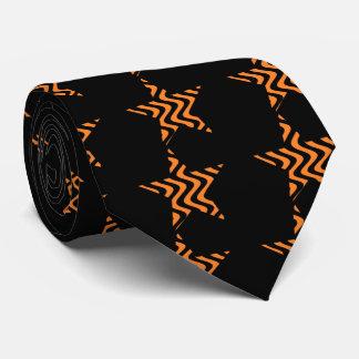 Wobbly Waves (Orange/Black) Star Tie