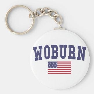 Woburn US Flag Basic Round Button Key Ring
