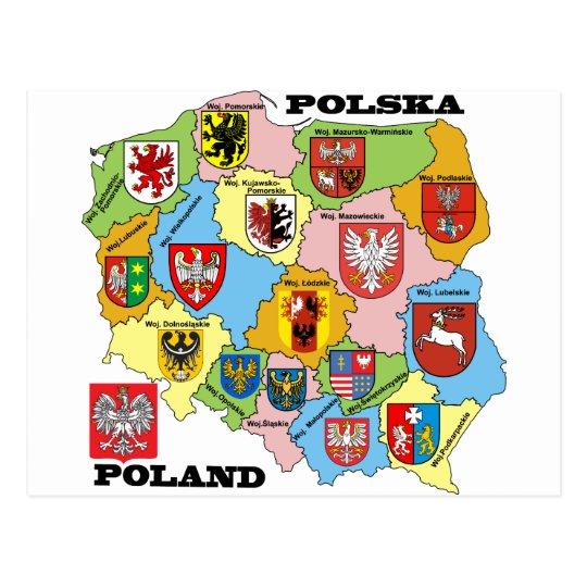 Wojewodztwa Polski_mapa Postcard