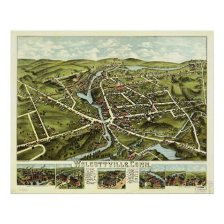 Wolcottville CT1875 Antique Panoramic Map Poster