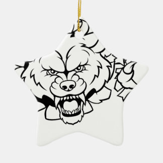 Wolf American Football Mascot Breaking Background Christmas Ornament