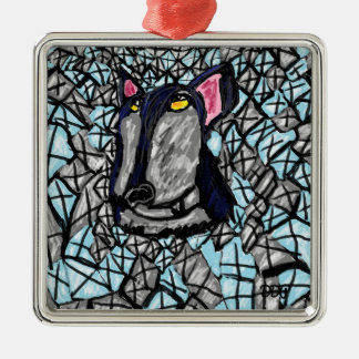 wolf and diamonds christmas ornament