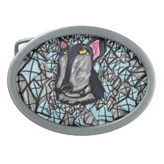 wolf and diamonds oval belt buckle