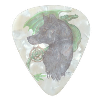 Wolf and Dragon Guitar Pick Pearl Celluloid Guitar Pick