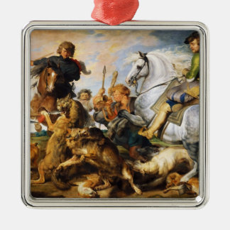 Wolf and Fox hunt Peter Paul Rubens masterpiece Silver-Colored Square Decoration