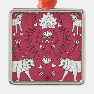 wolf and lamb pattern christmas ornament