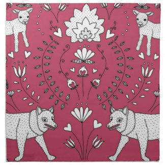 wolf and lamb pattern napkin