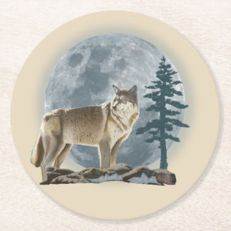 Wolf and moon design for cup coaster. round paper coaster