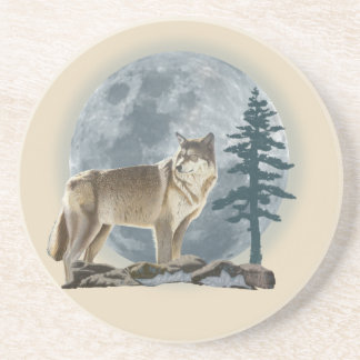 Wolf and moon design for table coaster. coaster