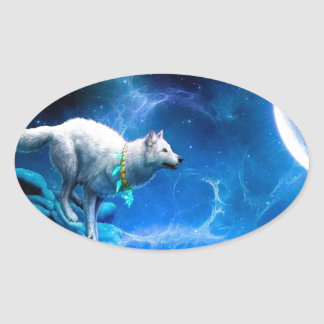 Wolf and Moon Oval Sticker