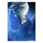 Wolf and Moon  Painting   Blue Note Card