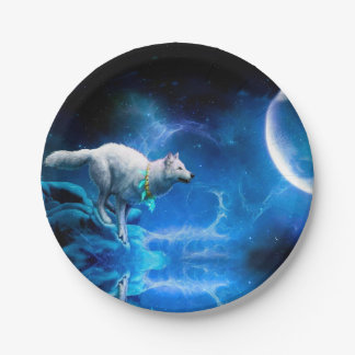 Wolf and Moon Paper Plate