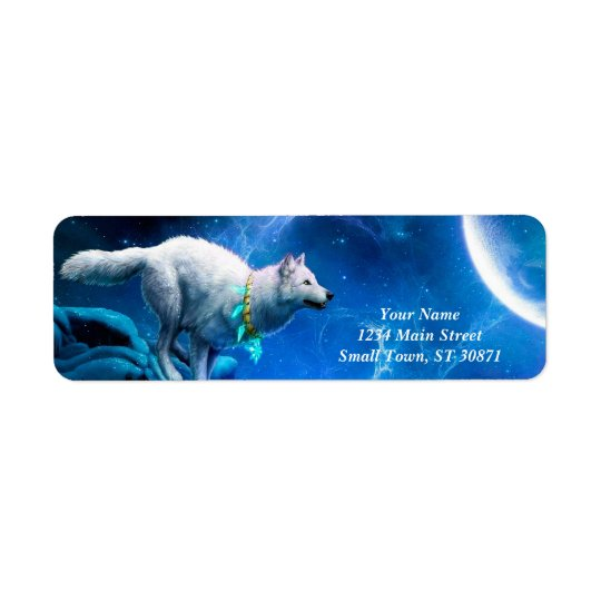 Wolf and Moon Return Address Label