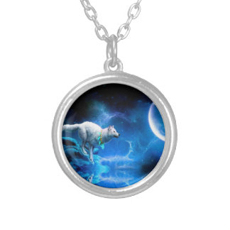 Wolf and Moon Silver Plated Necklace
