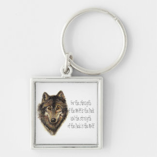 Wolf and Pack Quote - Animal Collection Silver-Colored Square Key Ring