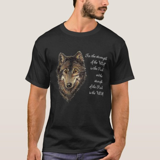 Wolf and Pack Quote Watercolor Animal Collection T-Shirt