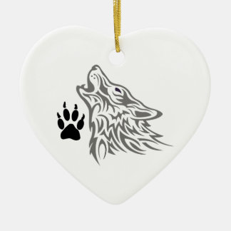 WOLF AND PAW PRINT CERAMIC HEART DECORATION