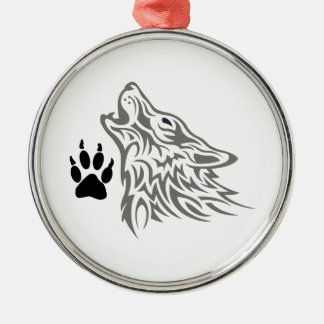 WOLF AND PAW PRINT CHRISTMAS ORNAMENT