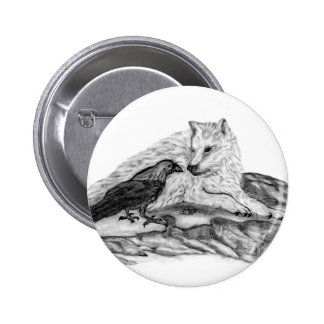 Wolf and Raven black and white design 6 Cm Round Badge