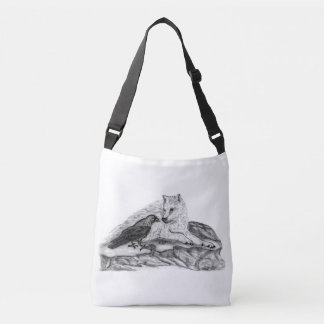 Wolf and Raven -  Black and White Design Crossbody Bag