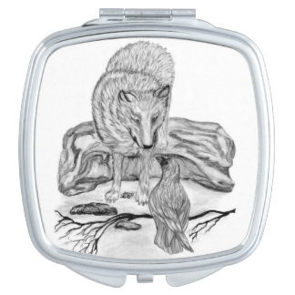 Wolf and Raven black and white design Vanity Mirrors