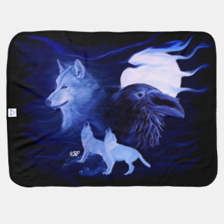 Wolf and Raven in the Night Baby Blanket