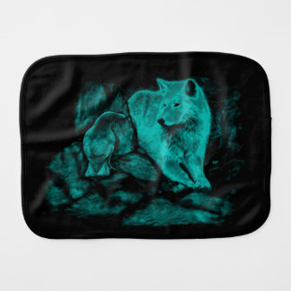 Wolf and Raven in the Night Burp Cloth