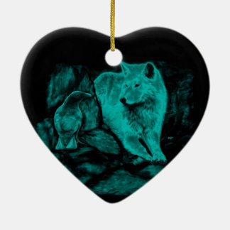 Wolf and Raven in the Night Ceramic Heart Decoration