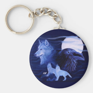 Wolf and Raven with full moon Key Ring