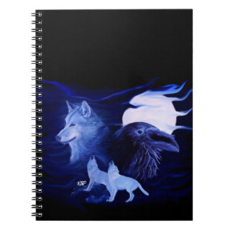 Wolf and Raven with full moon Notebooks