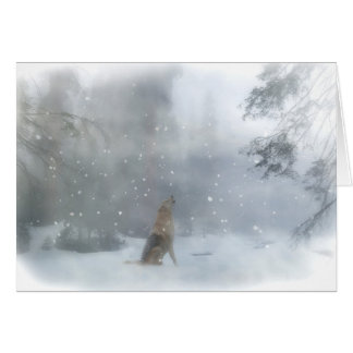 Wolf and Snow Funny Happy Holiday Card