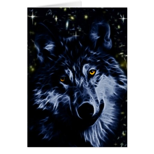 Wolf and stars greeting card