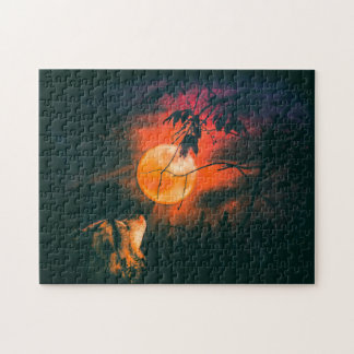 Wolf and The Mead Moon Jigsaw Puzzle