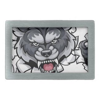 Wolf Animal Sports Mascot Breaking Background Belt Buckles