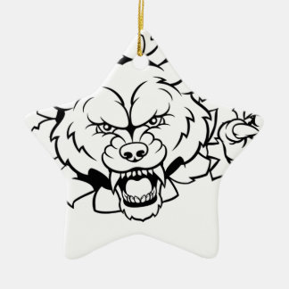 Wolf Animal Sports Mascot Breaking Background Christmas Ornament